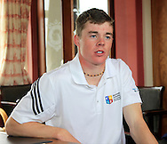 Stuart Grehan (Tullamore) during an interview after winning the East of Ireland Amateur Open Championship at Co. Louth Golf Club, Baltray on Monday 1st June 2015.<br /> Picture:  Thos Caffrey / www.golffile.ie