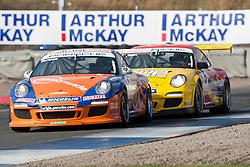 Car 1 - Kieran Vernon and car 5 - Richard Plant, Porche Carrera Cup..British Touring Car Championship at Knockhill, Sunday 4th September 2011. .© pic Michael Schofield.