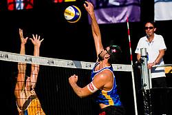 CHRISTOPH DRESSLER of Austria smashing ball during Beach Volleyball World Tour in Ljubljana 2020, on August 1, 2020 in Kongresni trg, Ljubljana, Slovenia. Photo by Grega Valancic / Sportida