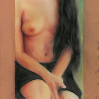 May was a gorgeous, somewhat waifish model who had this simple, skinny, and somnolent grace about her, which inspired several works. I did several works to capture some of her details up close. Materials: Pastel on museum-grade archival quality Rives paper
