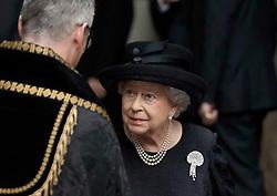 Queen Elizabeth II leaves St Paul's Church in Knightsbridge, London after attending the funeral of Countess Mountbatten of Burma.