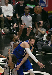 November 15, 2018 - Los Angeles, California, U.S - Danilo Gallinari #8 of the Los Angeles Clippers blocks LaMarcus Aldridge #12 of the San Antonio Spurs during their NBA game on Thursday November 15, 2018 at the Staples Center in Los Angeles, California. (Credit Image: © Prensa Internacional via ZUMA Wire)