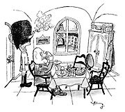 (An officer is having his breakfast and keeping his teapot warm by using a Scots Guardsman's bearskin hat as a tea cosy)