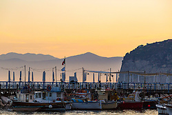 Sorrento, Italy, September 16 2017. Fishing boats rest on their moorings at dawn in Marina Grande, Sorrento, Italy. © Paul Davey