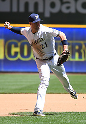 June 13, 2018 - Milwaukee, WI, U.S. - MILWAUKEE, WI - JUNE 13: Milwaukee Brewers Third base Travis Shaw (21) throws to 1st during a MLB game between the Milwaukee Brewers and Chicago Cubs on June 13, 2018 at Miller Park in Milwaukee, WI. The Brewers defeated the Cubs 1-0.(Photo by Nick Wosika/Icon Sportswire) (Credit Image: © Nick Wosika/Icon SMI via ZUMA Press)