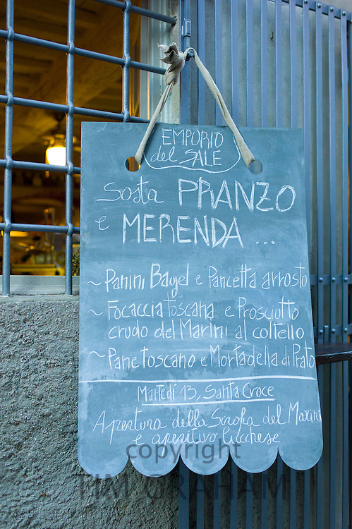Emporio Del Sale restaurant menu in Via Dell Anfiteatro off Via Fillungo in Lucca, Italy