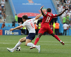June 24, 2018 - Nizhny Novgorod, Russia - June 24, 2018, Russia, Nizhny Novgorod, FIFA World Cup 2018, First round, Group, Second round. Football match of England - Panama at the stadium Nizhny Novgorod. Player of the national team Harry Magir; Armando Cooper. (Credit Image: © Russian Look via ZUMA Wire)