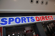 Sign for the clothing brand Sports Direct in Birmingham, United Kingdom.