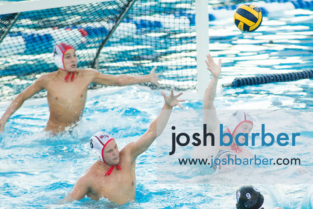 Redlands East Valley's Harrison Land (1a), Jacob Bills (8), Zachary Jenson (4) during the CIF-SS Division 5 Boy's Water Polo Final at Woollett Aquatic Center on Saturday, November 21, 2015 in Irvine, California. (Photo/Josh Barber)
