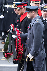 © Licensed to London News Pictures. 12/11/2017. London, UK. HRH The DUKE OF YORK, PRINCE HARRY and PRINCE WILLIAM, DUKE OF CAMBRIDGE attend a Remembrance Day Ceremony at the Cenotaph war memorial in London, United Kingdom, on November 13, 2016 . Thousands of people honour the war dead by gathering at the iconic memorial to lay wreaths and observe two minutes silence. Photo credit: Ray Tang/LNP