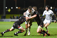 James Hook is smothered during the Guinness Pro 14 2017_18 match between Edinburgh Rugby and Ospreys at Myreside Stadium, Edinburgh, Scotland on 4 November 2017. Photo by Kevin Murray.