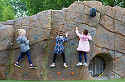 UNITED KINGDOM, London: 30 July 2019<br /> Children enjoy climbing a wall at London Zoo's new Animal Adventure Playpark. The new and exciting nature-inspired adventure-play destination officially opens to the public tomorrow on July 31st 2019.<br /> Credit: Rick Findler / Story Picture Agency