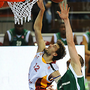 Galatasaray's Luksa ANDRIC (L) during their Euroleague Game 2 basketball match Galatasaray between Unics Kazan at the Abdi Ipekci Arena in Istanbul at Turkey on Thursday, October, 27, 2011. Photo by TURKPIX