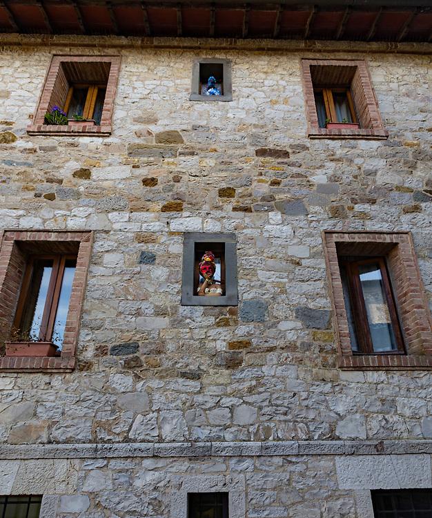 Window art in Castellina di Chianti in Italy.