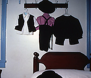 Amish boy's trousers, vest, hat, shirt and jacket, bedroom, Amish home, Lancaster, PA