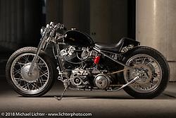 Stoop Motorcycles' Masato Ikemori's (known as Mori) latest custom - a 1966 Harley-Davidson Shovelhead at the 27th Annual Mooneyes Yokohama Hot Rod Custom Show 2018. Yokohama, Japan. Saturday, December 1, 2018. Photography ©2018 Michael Lichter.