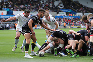 Chris Henry of Ulster (on ground) stretches over to score his 2nd half try, awarded by match TMO , Derek Bevan after a long delay and shouts from the home supporters.   Guinness Pro12 rugby match, Ospreys v Ulster Rugby at the Liberty Stadium in Swansea, South Wales on Saturday 7th May 2016.<br /> pic by  Andrew Orchard, Andrew Orchard sports photography.