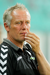 August 3, 2017 - Ljubljana, Slovenia, Slovenia - Coach Christian Streich of SC Freiburg during the UEFA Europa League Third Qualifying Round match between SC Freibur and NK Domzale at Arena Stozice on 3 rd August , 2017 in Ljubljana, Slovenia. (Credit Image: © Damjan Zibert/NurPhoto via ZUMA Press)
