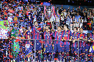 Barcelona players celebrate  during the Champions League Final between Juventus FC and FC Barcelona at the Olympiastadion, Berlin, Germany on 6 June 2015. Photo by Phil Duncan.