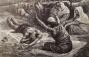 """JOB LYING ON THE HEAP OF REFUSE. Job. ii. 8 """"And he took him a potsherd to scrape himself withal; and he sat down among the ashes"""" From the book ' The Old Testament : three hundred and ninety-six compositions illustrating the Old Testament ' Part II by J. James Tissot Published by M. de Brunoff in Paris, London and New York in 1904"""