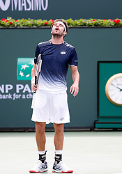 March 9, 2019 - Indian Wells, CA, U.S. - INDIAN WELLS, CA - MARCH 09: Leonardo Mayer (ARG) reacts after losing a point during the second round of the BNP Paribas Open on March 09, 2019, at the Indian Wells Tennis Gardens in Indian Wells, CA. (Photo by Adam Davis/Icon Sportswire) (Credit Image: © Adam Davis/Icon SMI via ZUMA Press)