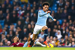 Leroy Sane of Manchester City goes passed Ryan Fredericks of West Ham United - Mandatory by-line: Robbie Stephenson/JMP - 27/02/2019 - FOOTBALL - Etihad Stadium - Manchester, England - Manchester City v West Ham United - Premier League