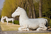 Statue of a resting horse, Spirit Way, Ming Tombs, Changling, Beijing, China