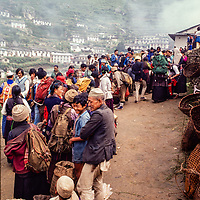 Lowland farmers sell their wares at the weekly market at Namche Bazar, Khumbu Region, Nepal. 1980
