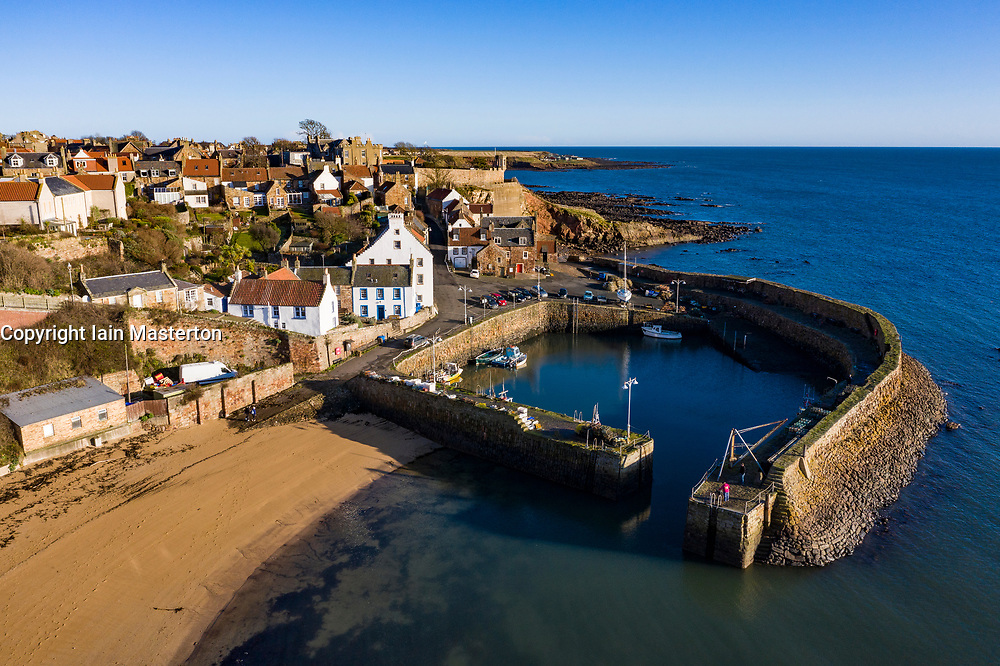 Aerial view from drone of Crail historic fishing village in the East Neuk of Fife, Scotland, UK