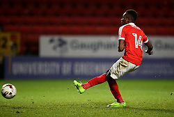 Charlton U23's Regan Charles-Cook has his shot saved during the penalty shoot out