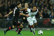 Mousa Dembele of Tottenham Hotspur goes past Admir Mehmedi of Bayer Leverkusen. UEFA Champions league match, group E, Tottenham Hotspur v Bayer Leverkusen at Wembley Stadium in London on Wednesday 2nd November 2016.<br /> pic by John Patrick Fletcher, Andrew Orchard sports photography.