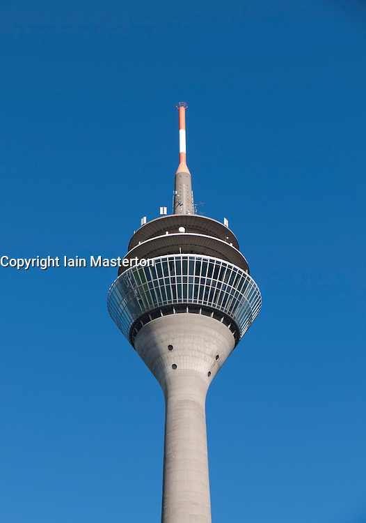 The Rhine TV Tower in the Medienhafen district of Dusseldorf Germany