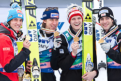 21.03.2010, Planica, Kranjska Gora, SLO, FIS SKI Flying World Championships 2010, Flying Hill Team, im Bild .Goldmedailliengewinner 2010 im Teambewerb Österreich, v.l. SCHLIERENZAUER Gregor, ( AUT ), KOCH Martin, ( AUT ), MORGENSTERN Thomas, ( AUT ) und LOITZL Wolfgang, ( AUT ), EXPA Pictures © 2010, PhotoCredit: EXPA/ J. Groder / SPORTIDA PHOTO AGENCY