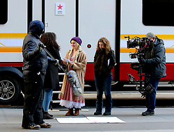 """Drew Barrymore wears a long blonde braided pigtail wig as she plays a milkmaid on the set of """"The Stand-In"""" filming in Midtown Manhattan. 19 Feb 2019 Pictured: Drew Barrymore. Photo credit: LRNYC / MEGA TheMegaAgency.com +1 888 505 6342"""