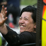 13 local activists locked themselves in specially made arm tubes to block the entrance to Quadrilla's drill site in New Preston Road, July 03 2017, Lancashire, United Kingdom. Councillor Julie Brickles free after 10 hours. The 13 activists included 3 councillors; Julie Brickles, Miranda Cox and Gina Dowding and Nick Danby, Martin Porter, Jeanette Porter,  Michelle Martin, Louise Robinson,<br /> Alana McCullough, Nick Sheldrick, Cath Robinson, Barbara Cookson, Dan Huxley-Blyth. The blockade is a repsonse to the emmidiate drilling for shale gas, fracking, by the fracking company Quadrilla. Lancashire voted against permitting fracking but was over ruled by the conservative central Government. All the activists have been active in the struggle against fracking for years but this is their first direct action of peacefull protesting. Fracking is a highly contested way of extracting gas, it is risky to extract and damaging to the environment and is banned in parts of Europe . Lancashire has in the past experienced earth quakes blamed on fracking.