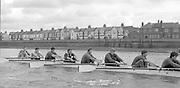 London. United Kingdom.  1987 Pre Fixture, National Squad vs ULBC on the Championship Course Mortlake to Putney. River Thames.  Saturday 21.03.1987<br /> <br /> [Mandatory Credit: Peter SPURRIER/Intersport images]<br /> <br /> National Squad, Bow, Terry Dillon, John MAXEY, John GARRETT, Martin CROSS, Andy HOLMES, Steve REDGRAVE, Adam CLIFT, Richard STANHOPE and Cox, Pat SWEENEY.