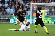 Nicolas Otamendi of Manchester city fouls Gylfi Sigurdsson of Swansea city. Premier league match, Swansea city v Manchester city at the Liberty Stadium in Swansea, South Wales on Saturday 24th September 2016.<br /> pic by Andrew Orchard, Andrew Orchard sports photography.