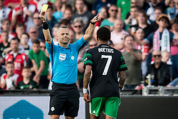 (L-R) referee Bjorn Kuipers, Jean Paul Boetius of Feyenoord during the Dutch Toto KNVB Cup Final match between AZ Alkmaar and Feyenoord on April 22, 2018 at the Kuip stadium in Rotterdam, The Netherlands.