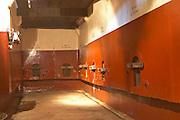 Concrete fermentation tanks painted in red and white. Bodega Pisano Winery, Progreso, Uruguay, South America