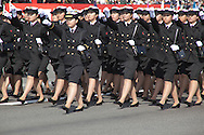 October, 23, 2016, Asaka, Saitama Prefecture, Japan: Female naval personal of the Japan Maritime Self Defense Force march in formation during the annual military review held at the Asaka Training Area, a Japan Ground Self Defense Force (JSDF) base on the outskirts of Tokyo. For this event, Prime Minister Shinzo Abe, top ranking Japanese brass and international dignitaries were in attendance to view Japan's military might. This included 4000 troops, 27 divisions, 280 vehicles and artillery, plus 50 aircraft of the Ground, Air, and Maritime branches of the JSDF. (Torin Boyd/Polaris).