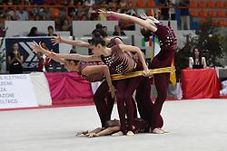 July 28, 2018 - Chieti, Abruzzo, Italy - Rhythmic gymnastics team of Ukraine performs its 5 hoops routine during the Rhythmic Gymnastics pre World Championship Italy-Ukraine-Germany at Palatricalle on 29th of July 2018 in Chieti Italy. (Credit Image: © Franco Romano/NurPhoto via ZUMA Press)