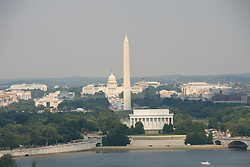 Washington DC; USA: The Washington Monument, Lincoln Memorial, and Capitol, as seen from Arlington, VA.Photo copyright Lee Foster Photo # 2-washdc82785
