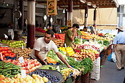 Fruit and vegetable market, part of Athens Central Market near to Omonia. Fresh food is beautifully displayed here and is of excellent quality. In Greece, the quality of the ingredients is key to their food. Athens is the capital and largest city of Greece. It dominates the Attica periphery and is one of the world's oldest cities, as its recorded history spans around 3,400 years. Classical Athens was a powerful city-state. A centre for the arts, learning and philosophy.