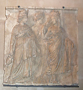 Marble relief of three Tyches (Goddesses of Fortune). Circa 160 AD. 3 crowned and robed women, each representing a city, walk together. Part of the Borghese collection.