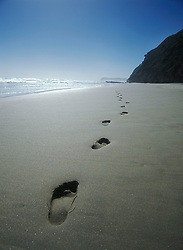 Footprints in the sand on beach near Sedgefield, on the Garden Route, South Africa. (Credit Image: © Axiom/ZUMApress.com)