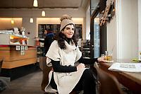 04 JAN 2012, BERLIN/GERMANY:<br /> Shermin Voshmgir, Filmemacherin und Gruenderin des Start-ups cinovu.com, Cafe Oberholz, Rosenthaler Platz<br /> IMAGE: 20120104-01-019