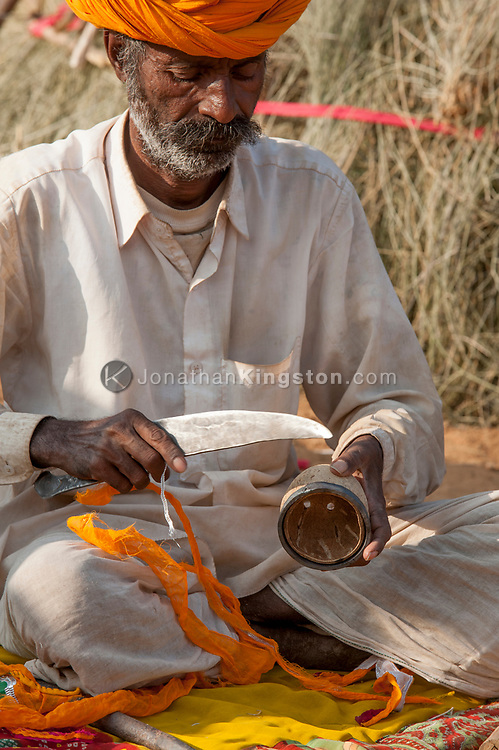 A luthier works on an instrument known as a ravanatha, Pushkar, India.
