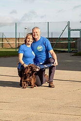 """Pictured: Jenny anjd Scott Hastings with Parkewr the dog<br /><br />Athlete Maria Lyle, was joined by rugby legend Scott Hastings and his wife Jenny  today in Edinburgh to launch national Mental Health charity Support in Mind Scotland's """"100 Streets Challenge"""" for 2019. The campaign encourages people to walk, run or cycle 100 streets in their communities. <br /><br />Ger Harley 