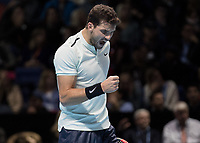 Tennis - 2017 Nitto ATP Finals at The O2 - Day Eight<br /> <br /> Final : Grigor Dimitrov (Bulgaria) Vs David Goffin (Belguim) <br /> <br /> Grigor Dimitrov (Bulgaria) screams with delight after taking the first set at the O2 Arena <br /> <br /> COLORSPORT/DANIEL BEARHAM