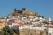 Historic hilltop walled medieval village of Mértola with castle and fortified walls, Baixo Alentejo, Portugal, Southern Europe